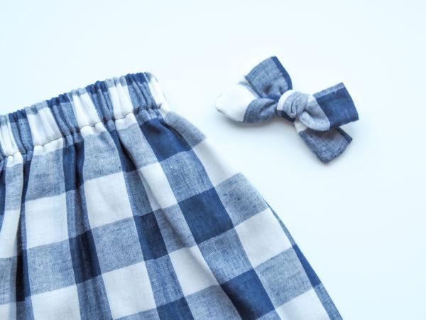 jupe Vichy, Tissu double gaze bleu marine